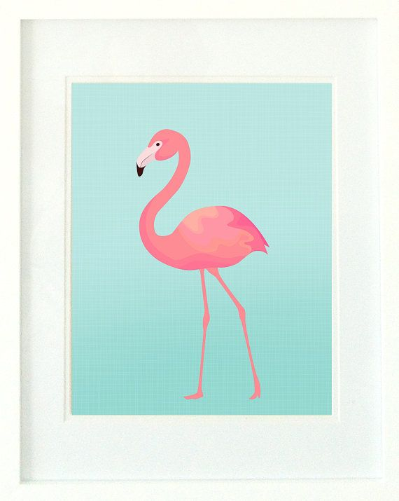 Flamingo Print Aqua and Pink / Flamingo Print for by MintImprint