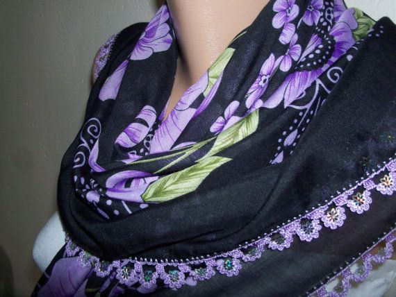 BLACK  and Purple  DaisyGorgeous Turkish by colourfulrose on Etsy, $15.90