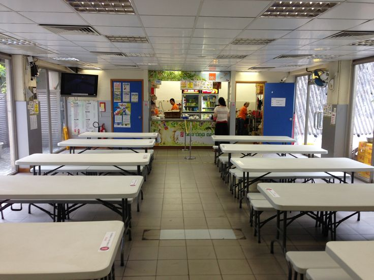 School canteen interior design with long table ideas for - How long is interior design school ...