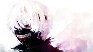 Preview wallpaper tokyo ghoul, kaneki ken, man, mask, red eyes, white hair 1920x1080