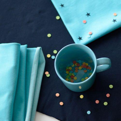 Denim Look College, Turquoise | NOSH Fabrics Spring & Summer 2016 Collection - Shop at en.nosh.fi | Kevään 2016 malliston kankaat saatavilla nyt nosh.fi