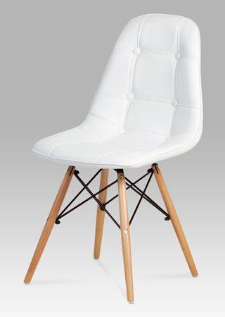 CT-720 WT1 Jídelní židle s nadčasovým vzhledem, je nejen pohodlná, ale také skvělým designovým doplňkem do jídelny, kuchyně či pracovny. Zajímavě řešená podnož z masivního bukového dřeva v barvě natural s černými kovovými výztuhami, sedák s opěrákem je očalouněn bílou koženkou.