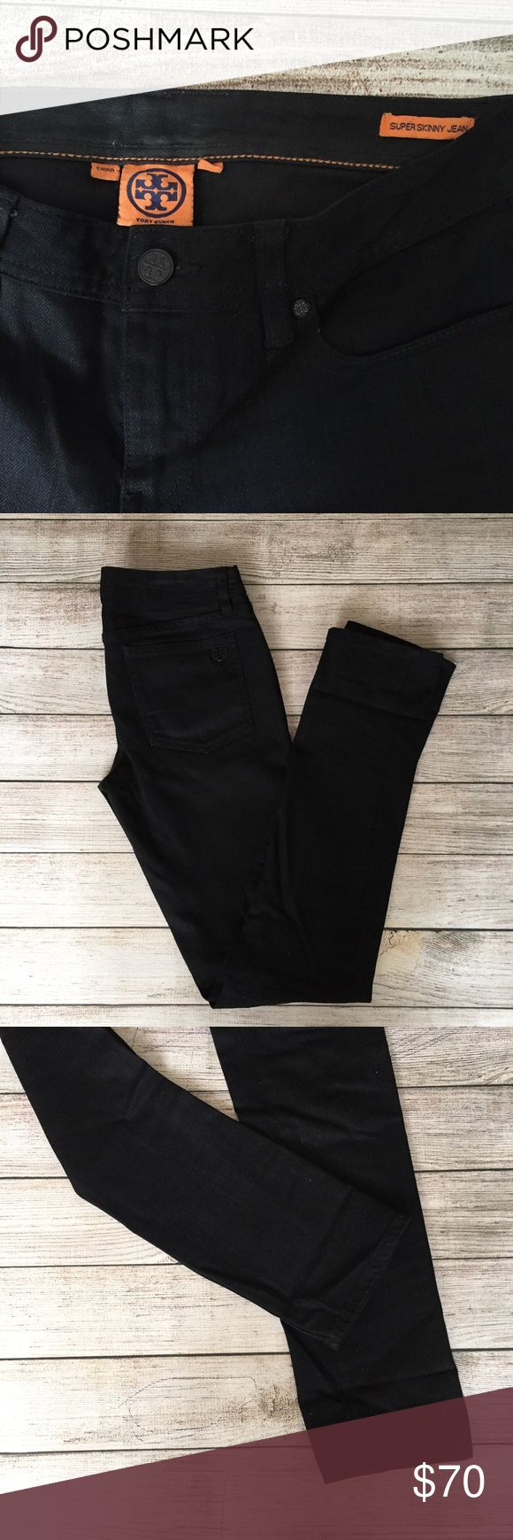 "Tory Burch Super Skinny Black Jeans Super skinny leg. 34"" inseam. 8"" rise. Excellent condition 🚫NO TRADES/NO MODELING🚫✅BUNDLE TO SAVE✅ Tory Burch Jeans Skinny"