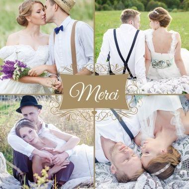 Cartes de remerciement de mariage à 4 photos ornée d'un merci couleur or !  A personnaliser sans attendre :http://www.lips.fr/impression/carte-remerciement-mariage/format-150-x-150-2p-modele.html?modele_id=485  #mariage #chic