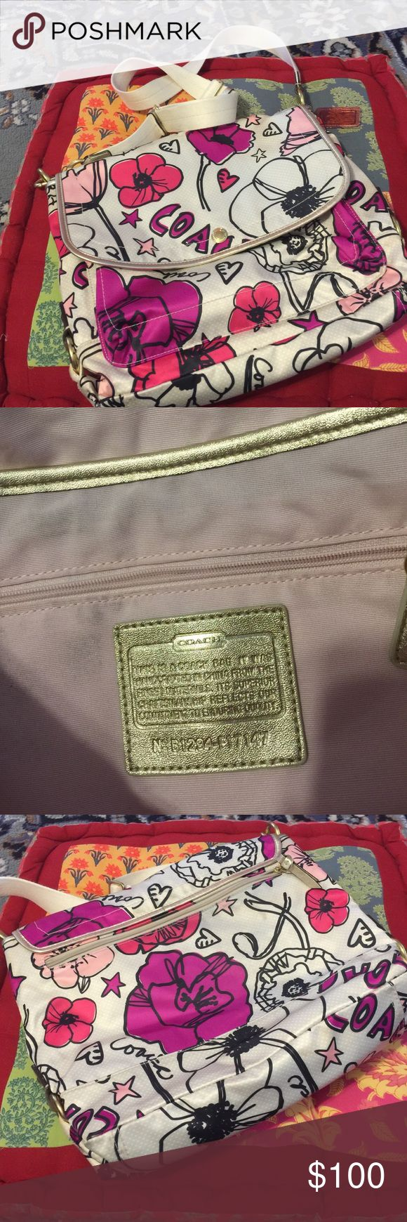 Poppy Coach Messenger bag Great item.  Poppy Coach Messenger Bag. Very Good Condition. Minor wear but you have to look close to see it! Coach Bags Shoulder Bags