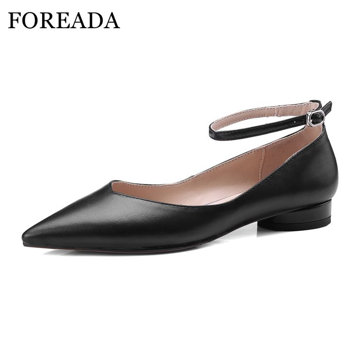 FOREADA Ballet Flats Shoes Genuine Leather Women 2018 Shoes Ankle Strap  Buckle Flat Black Pointed Toe