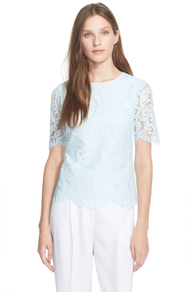 Ted Baker London Scallop Edge Lace Top