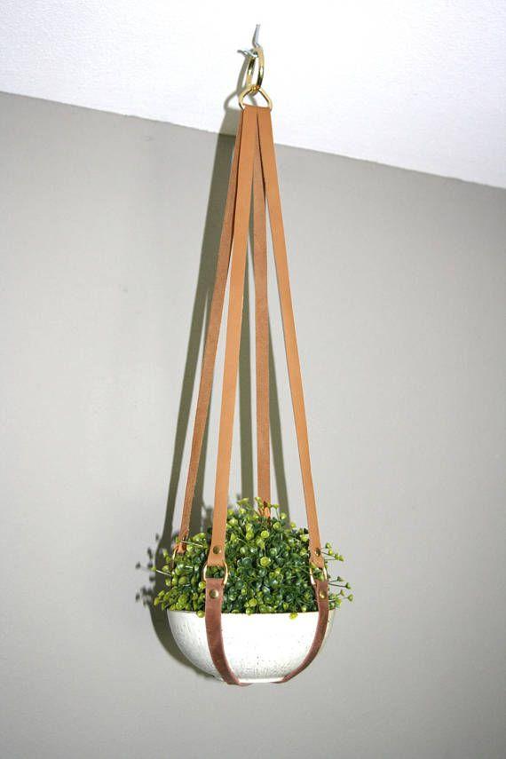 Leather Plant Hanger Hanging Planter Leather Planter Sling