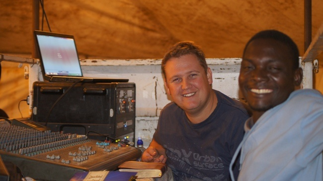 MTHATHA - Our Sound guys, Etienne and Thomas, smiling at the camera.