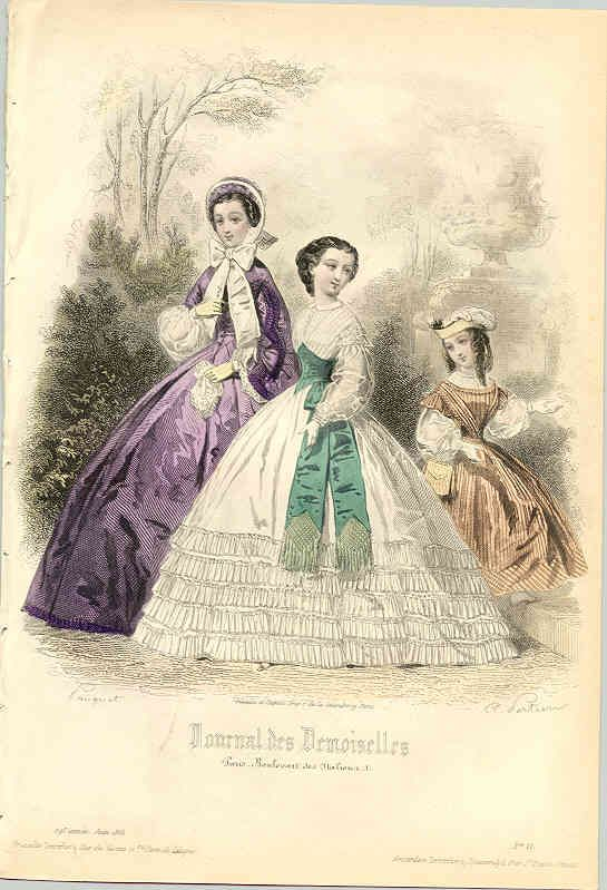 1861 Fashion plate of three young ladies of different ages.   The swiss waist is beautiful!