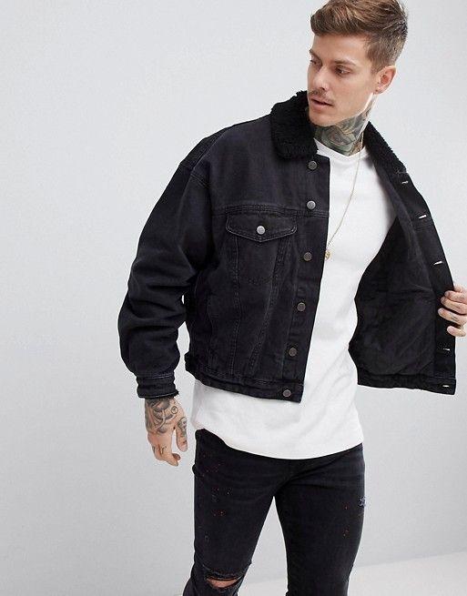 Design Oversized Denim Jacket With Fleece Collar In Washed Black