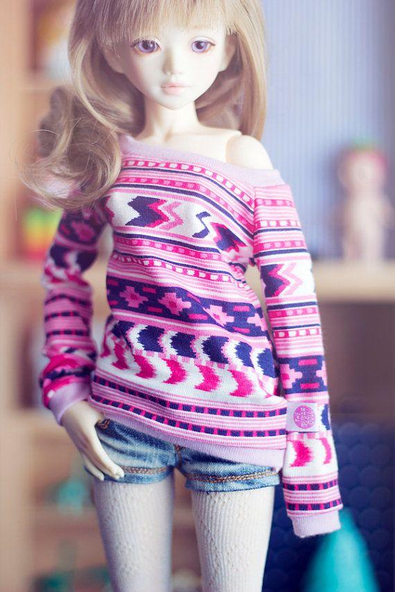 Pink Folk sweater for MSD size bjd dolls Unoa Minifee