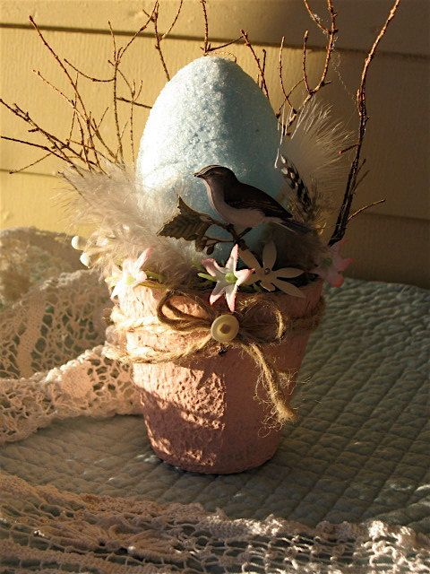 Easter Birds Nest Peat Pot Robins Egg Easter Egg by Fannypippin, $24.50