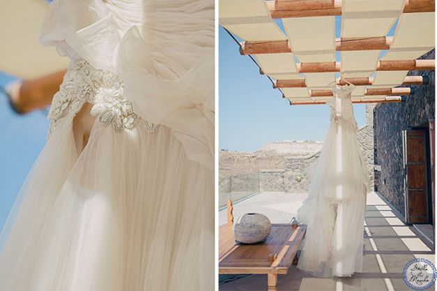 Wedding Dress | Santorini Wedding by Stella and Moscha - Weddings in Greece | Photo by Anna Roussos | http://www.stellaandmoscha.com/wedding-photos/private-villa-wedding/
