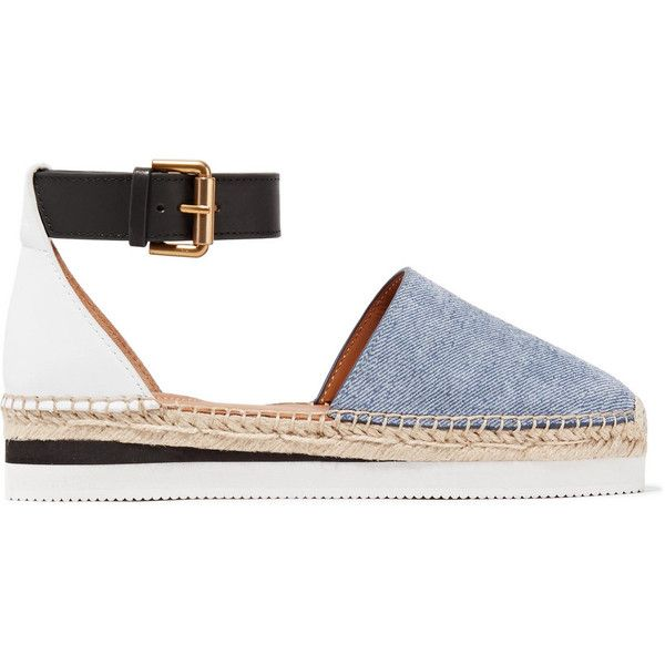 09a1aa05cb2e See by Chloé Leather and denim platform espadrilles featuring polyvore