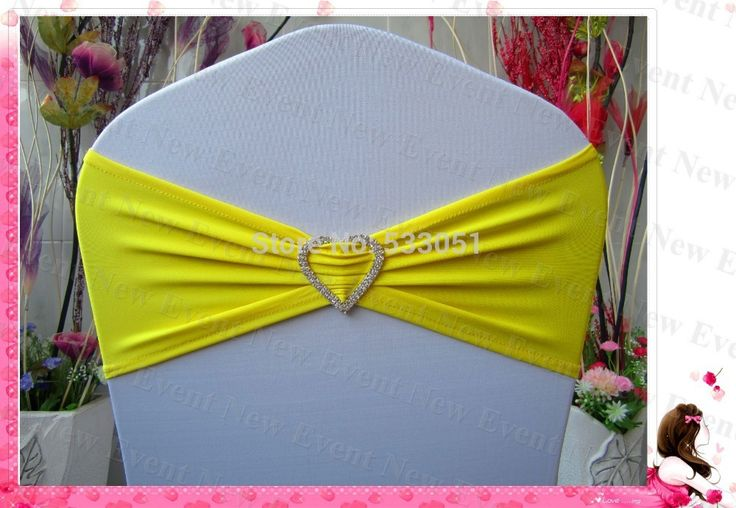 Lemon Yellow Color Single Layer Lycra Bands With Tow Row Heart Shape Diamond Buckle For Wedding Party Banquet Decoration