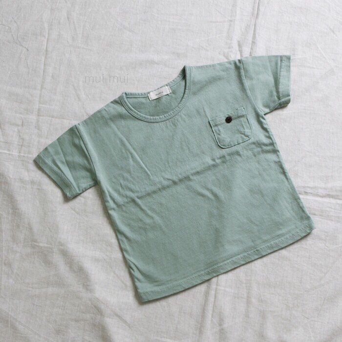 Kids Boys Girls Simple Mint Color Top T-shirt With Button Pocket / 3-4y #Unbranded