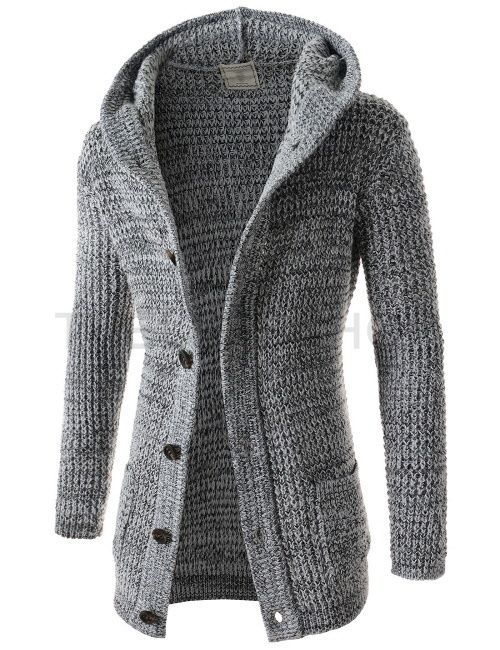 (FFC26-GRAY) Mens Casual Slim Fit Knitted 6 Button 2 Pocket Long Sleeve Hood Cardigan