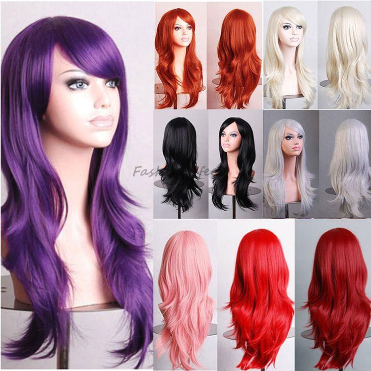 Stilvolle Lange Wellenförmige Schicht Cosplay Partei-volle Perücke Rosa Lila rot Frauen Damen Hitzebeständige Synthetische Haar Perücken Soft & starke