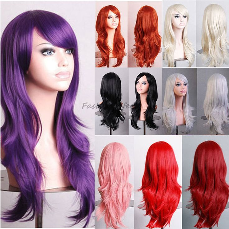 Stylish Long Wavy Layer Cosplay Party Full Wig Pink Purple Red Women Ladies Heat Resistant Synthetic Hair Wigs Soft & Thick