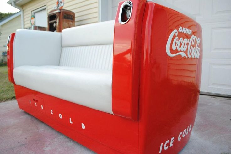Coca cola sofa made from an old coke box, love it!
