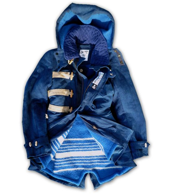 Cool Swedish Military Indigo Parka Orkney DGL French linen