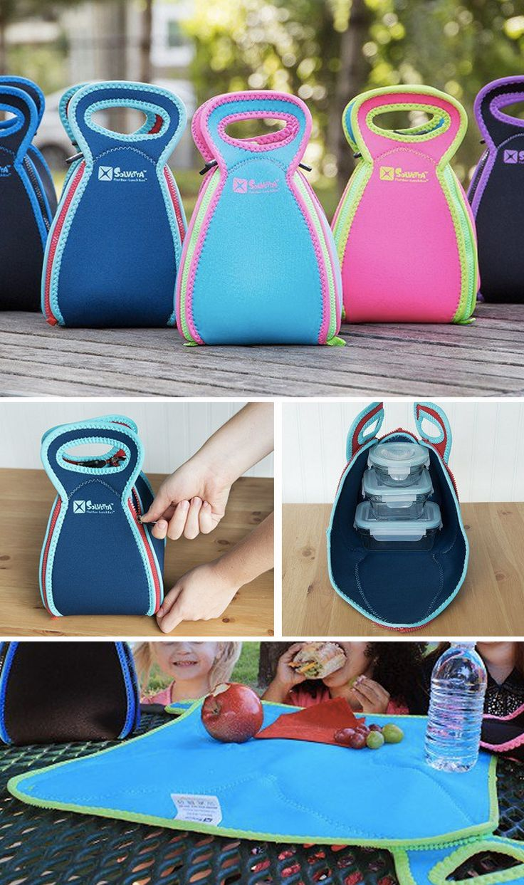 """This neoprene lunch bag is a """"flat box lunch box."""" Unzip and it transforms into a placemat to keep your food off of unclean surfaces."""