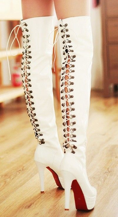 Chic back lace up thigh high boots, white leather thigh high boots, back lace up high heel boots