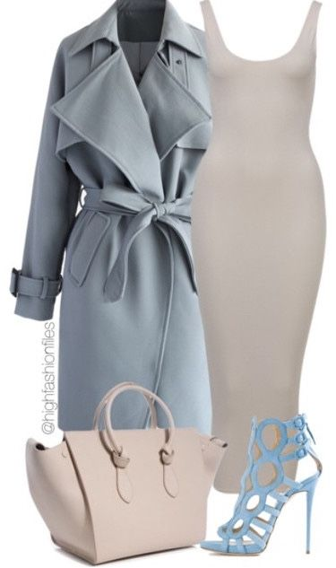 Gray blue trench coat, creme colored cami dress and baby blue heels