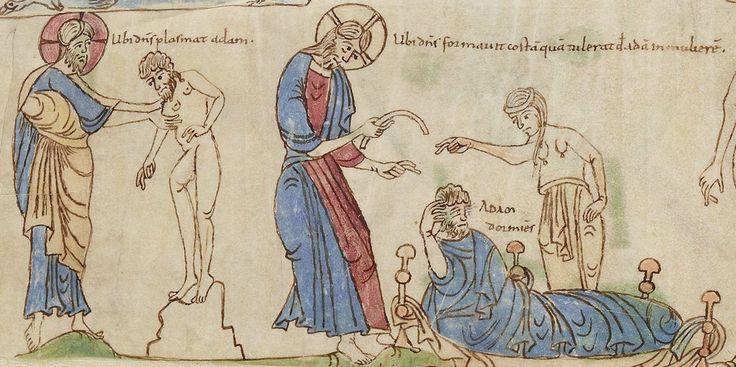 Bíblia de Sant Pere de Rodes Creació d'Adam i Eva (vol. 1, full 6r) Bibliothèque nationale de France