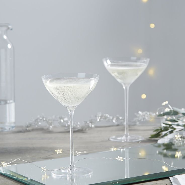 Fine Stem Champagne Coupe - Set of 2 | The White Company. Shopping from the US? -> http://us.thewhitecompany.com/Home-%26-Bath/Glassware/Fine-Stem-Champagne-Coupe---Set-Of-2/p/GLHCC?swatch=Clear