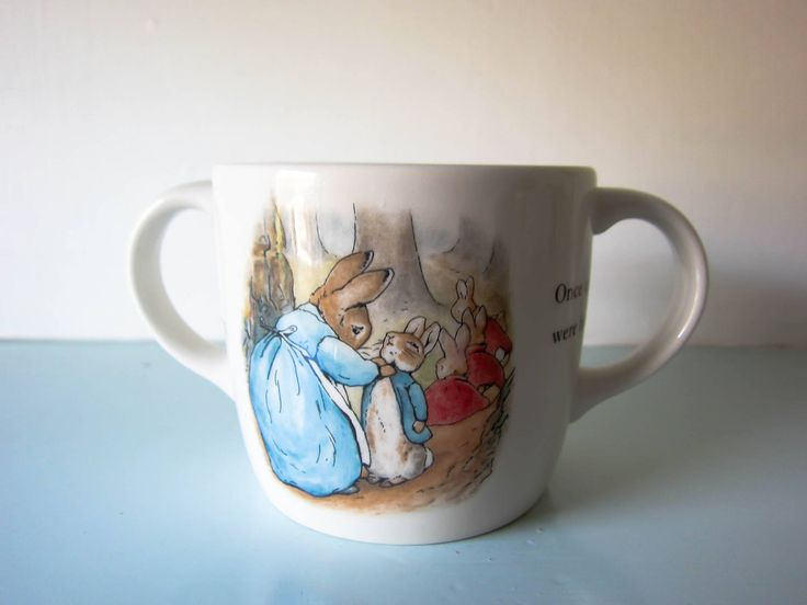 Peter rabbit cup peter rabbit mug, Beatrix potter Wedgwood, baby gift, christening gift, baby shower gift, Two handled peter rabbit cup by thevintagemagpie01 on Etsy