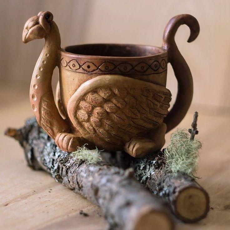 """Кружка """"Грифон"""", керамика — работа дня на Ярмарке Мастеров. Узнать цену и купить: http://www.livemaster.ru/nigtfly  Ceramic cup griffin #livemaster #handmade #art #ceramic #dishes #home #kitchen #decor #ручнаяработа #ярмаркамастеров #декор #кухня #посуда #керамика #искусство #кружка #грифон #скандинавия #cup"""