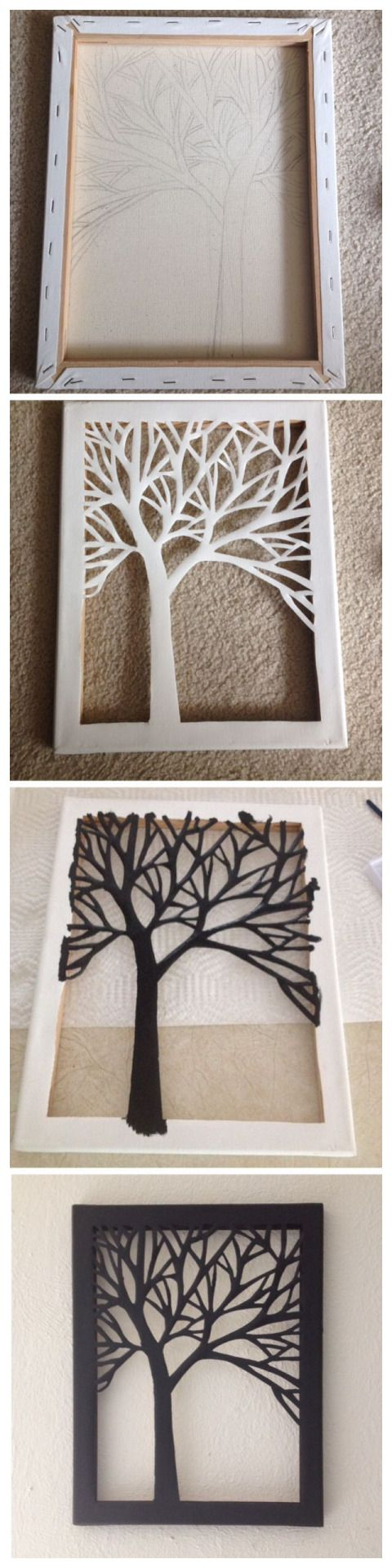 Sillouhette cut-out of a tree on canvas MORE –>> craftsanddiyideas.com