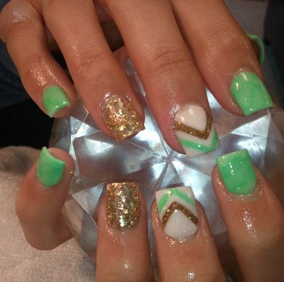 Gold-Chevron | Easy St Patricks Day Nail Designs | Easy Nail Art for Beginners Step by Step