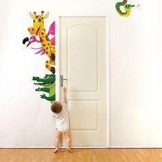 """Adesivo murale per bambini Wall Art """"Animaletti nascondino 3"""" - Misure 36x60 cm - Decorazione parete, adesivi per muro, carta da parati"""