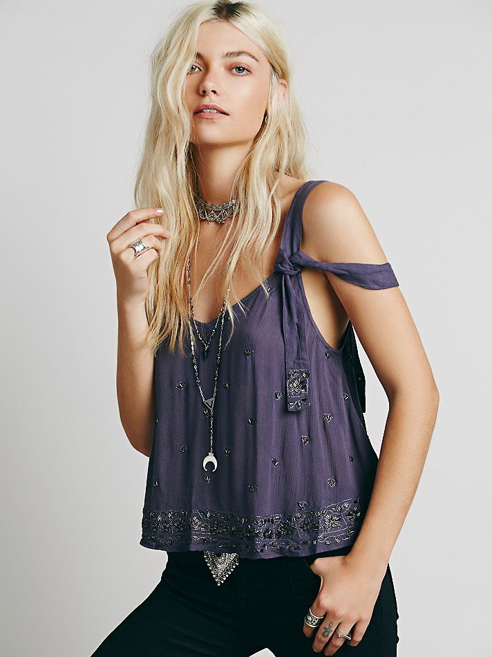 Free People Sensual Embroidered Drippy Tank at Free People Clothing Boutique