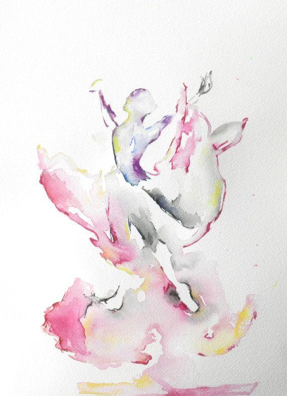 Abstract schilderij, aquarellen, Ballerina, balletdanser, dans