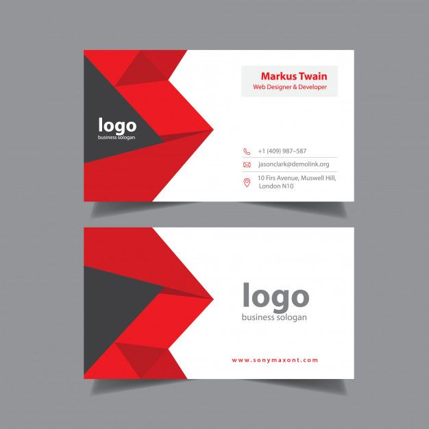 Red Abstract Visiting Card Visiting Cards Free Printable Business Cards Business Card Design Creative