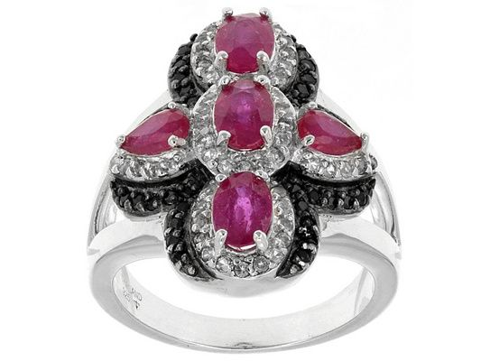 2.11ctw Mahaleo(R) Ruby With .23ctw Black Spinel And .35ctw White Topa