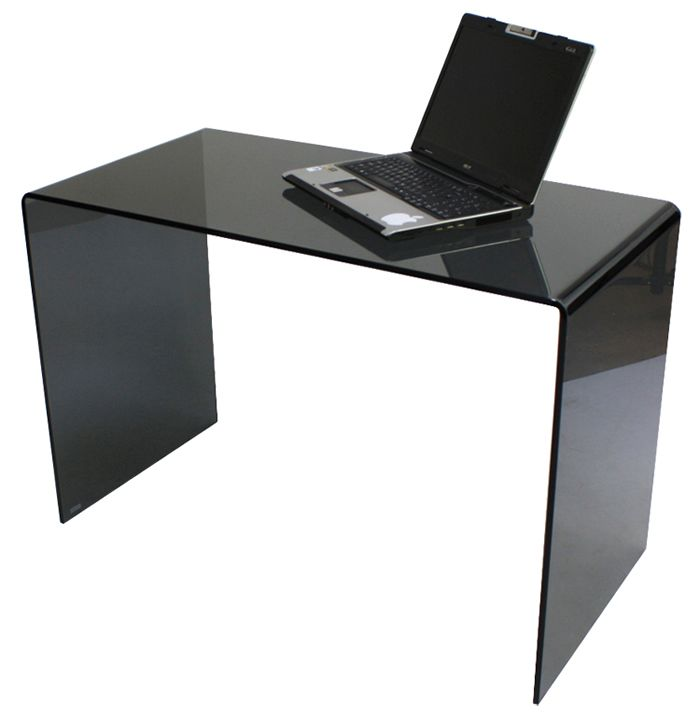 Geo Glass Small Smoked Black Glass Laptop Desk Sized To