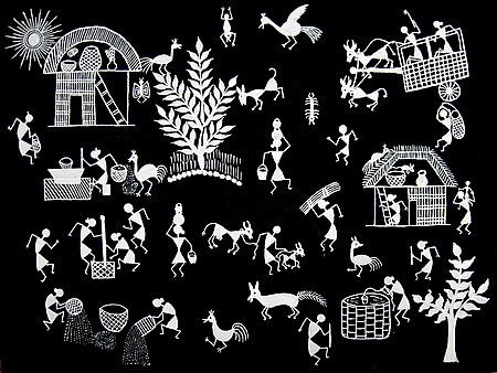 20 best warli painting on the wall images on pinterest cooking a warli village has been presented in this painting with huts trees animals and people men and women are seen cooking food milking a cow altavistaventures Gallery