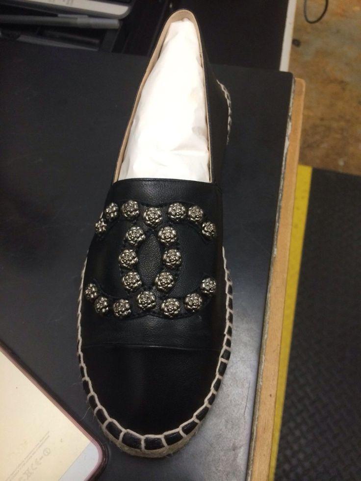 Chanel Camellia Stud Black Leather Espadrilles - Cruise 2015