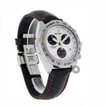Ανδρικό ελβετικό ρολόι SECTOR 490, χρονογράφος, αδιάβροχο, άσπρο καντράν, ημερομηνία & μαύρο δέρμα  Ρολόγια SECTOR σε προσφορά ΤΣΑΛΔΑΡΗΣ Χαλάνδρι #Sector #490 #χρονογραφος #λουρι #ρολοι