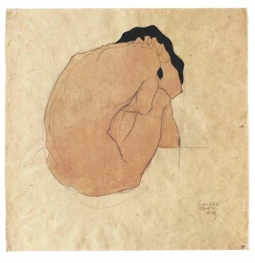 Schiele: 1909, Inspiration, Nude, Illustration, Egon Schiele, Artist, Painting, Egon Schiele, Drawing
