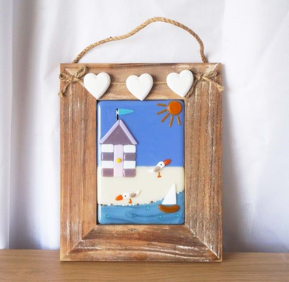 Beach Hut Picture Glass Seaside Picture Fused Glass Wall Art
