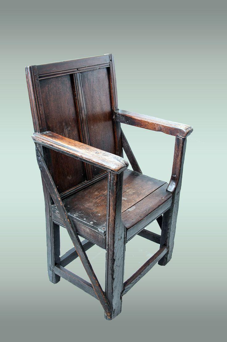 Rare plain panelled Tudor armchair, circa 1520 - 1540 ...