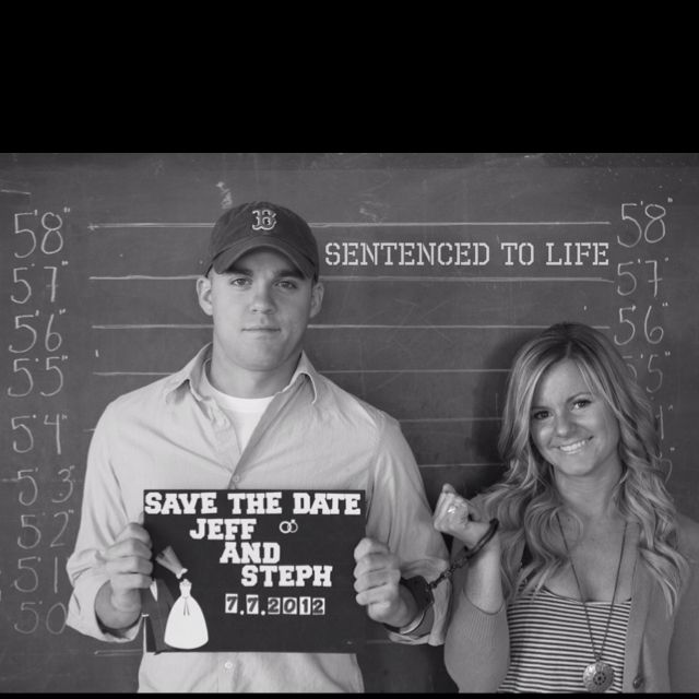 Save the date post card... My fiancé is a cop ;)
