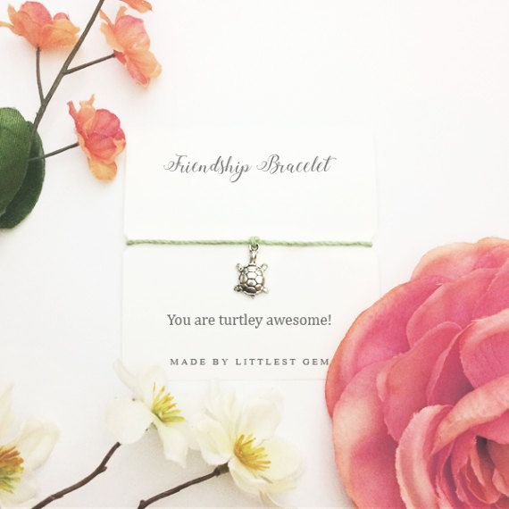 Turtle Bracelet - Friendship Bracelet - Best Friend Bracelet - Birthday Card