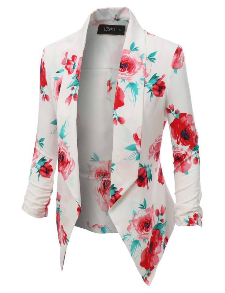 This open front floral blazer jacket is a must have! Its super lightweight and soft will guarantee maximum comfort. Perfect for any occasion.     97% Polyester / 3% Spandex  Lightweight, super soft material for comfort  Open front / No closure  Draped front / Ruched sleeve  Dry clean only    | Shop this product here: spreesy.com/hautechicboutique/139 | Shop all of our products at http://spreesy.com/hautechicboutique    | Pinterest selling powered by Spreesy.com